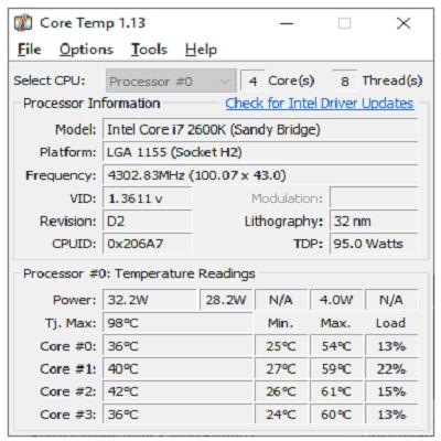 Téléchargez Core Temp (Gratuit)