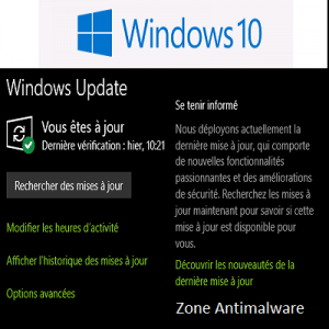 Commissioning of the Dynamic Update in Windows 10  - Zone Antimalware