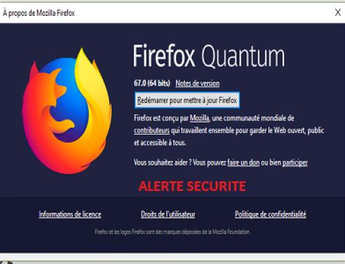 Alerte sécurité sur le navigateur Mozilla Firefox.