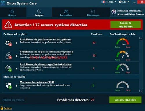 Xtron System Care, Logiciel Potentiellement Superflu.