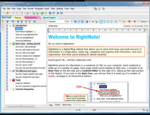 RightNote, information organizer