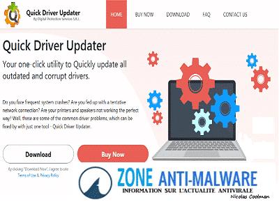QuickDriverUpdater ZAM - Quick Driver Updater, Logiciel Potentiellement Superflu