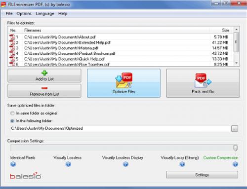 FILEminimizer PDF, Compresseur