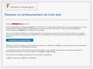 """Phishing Finances Publiques 01 300x225 - Phishing """"Finances Publiques, Recevez un remboursement..."""""""