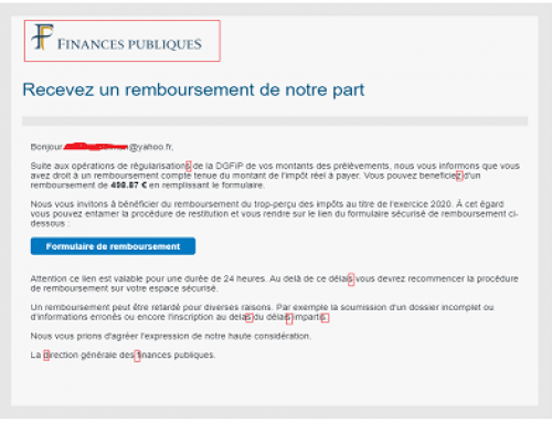 "Phishing ""Public Finance, Receive a refund… »"
