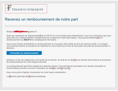 Phishing «Finances Publiques, Recevez un remboursement…»