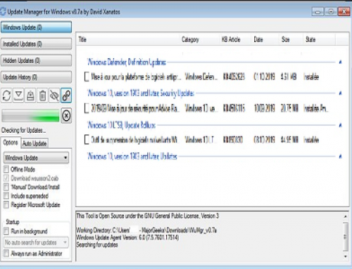 WuMgr, Gestion des mises à jour Windows