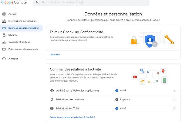 Le suivi d'activité de votre compte Google