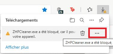 EDGE bloque ZHPCleaner - Comment débloquer un téléchargement sous Edge (Chromium) ?